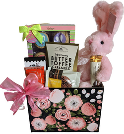 Easter Gifts - Pink Blooms Gift Basket with Bunny, Cookies, Candy - Family Gifts