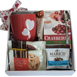 Tea & Cookies Gift Basket Box, Hearts Mug, Mother's Day, Birthday, Anniversary, Thank You Gifts