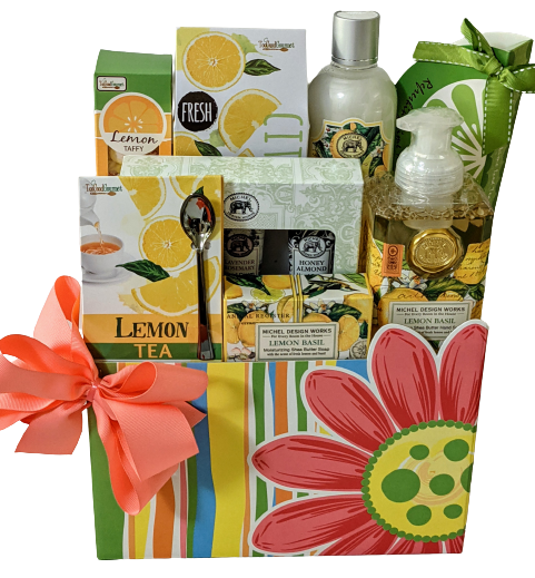 Mothers Day SPA Gift Basket - Refreshing Lemon Basil Set with Tea & Cookies