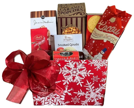 Christmas Holiday Gift Baskets - Red Snowflake Box with Sausage - Business & Personal Gifts