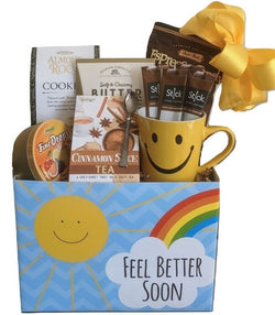 Get Well Soon Gift Basket - Smiley Mug with Tea, Coffee & Snacks - Feel Better Gifts, Business Gifts