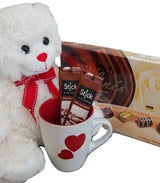Valentines Day Gifts - Teddy Bear with Hearts Mug & Chocolate Box Combo Pack