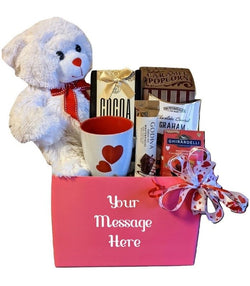 Valentine's Day Personalized Gift Basket - Teddy Bear, Hearts Mug & Chocolates - Anniversary Gifts