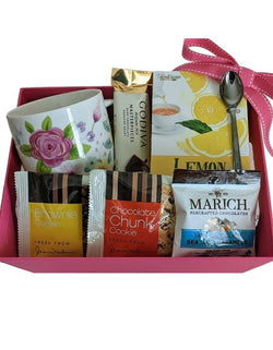 Mother's Day Gift Basket - Tea & Cookies with Tea Cup in Pink Gift Box - Gifts For Her