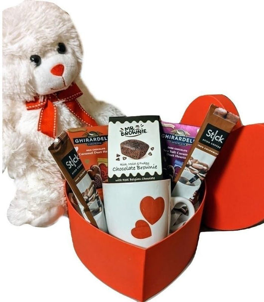 Valentines Day Chocolates & Coffee Heart Box with Teddy Bear & Mug - Anniversary Gifts