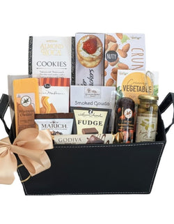 Thank You Gift Baskets- Faux Leather Basket with Gourmet Snacks - Business Gifts
