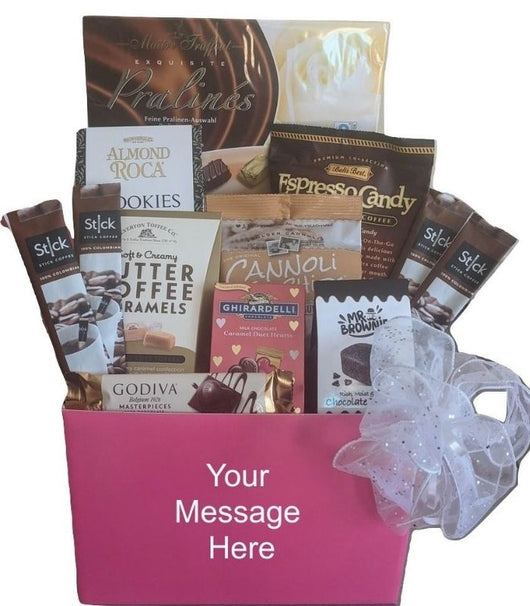 Valentine's Day Personalized Pink Gift Basket - Chocolates, Cookies & Coffee