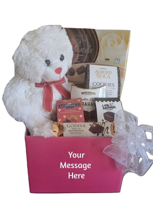 Valentine's Day Personalized Pink Gift Basket - Teddy Bear, Chocolates & Cookies