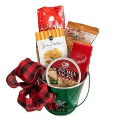 Sweet & Savory Snacks in a Green Bucket with Snowflake Design, Gift for Christmas and Holidays