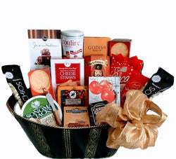 Holiday Gift Baskets - Elegant Black & Gold Gourmet Gift - Business & team Gifts