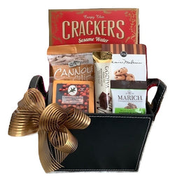 Thanksgiving / Holiday Gift Baskets - Sweet & Savory Faux Leather Gourmet Gift - Business Gifts
