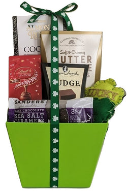 Happy St. Patrick's Day Chocolates & Cookies Gift Basket with Decorative Shamrocks