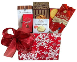 Christmas Holiday Gift Baskets - Red Snowflake Sweet & Savory Box - Business & Personal Gifts