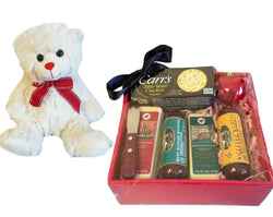 Valentines Day Meat & Cheese Gift Basket with Teddy bear - Savory Gifts