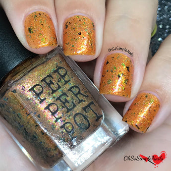 The Hero bright orange nail polish multichrome flakes glitter aurora holo indie nail polish handmade pepper pot polish