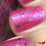The Damsel In Distress magenta pink indie nail polish multichrome flakies glitter holo indie nail polish pepper pot polish