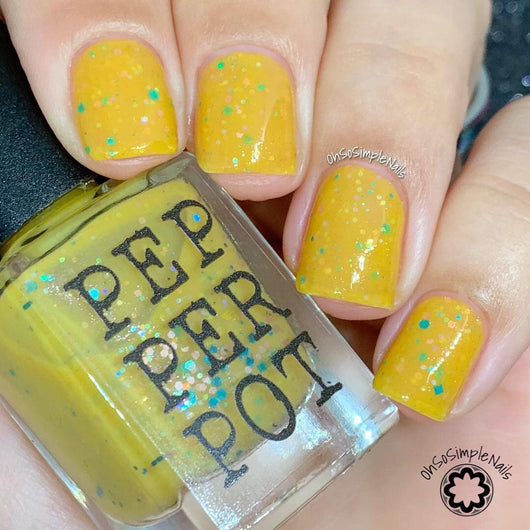 Banana Banshee Yellow Nail Polish with Pastel Glitter - Pepper Pot Polish