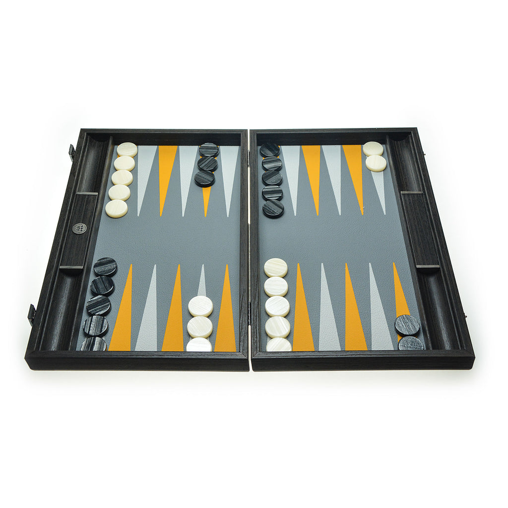Canary Yellow Minimalist Art- Handcrafted Designer Collection Backgammon with side racks for checkers