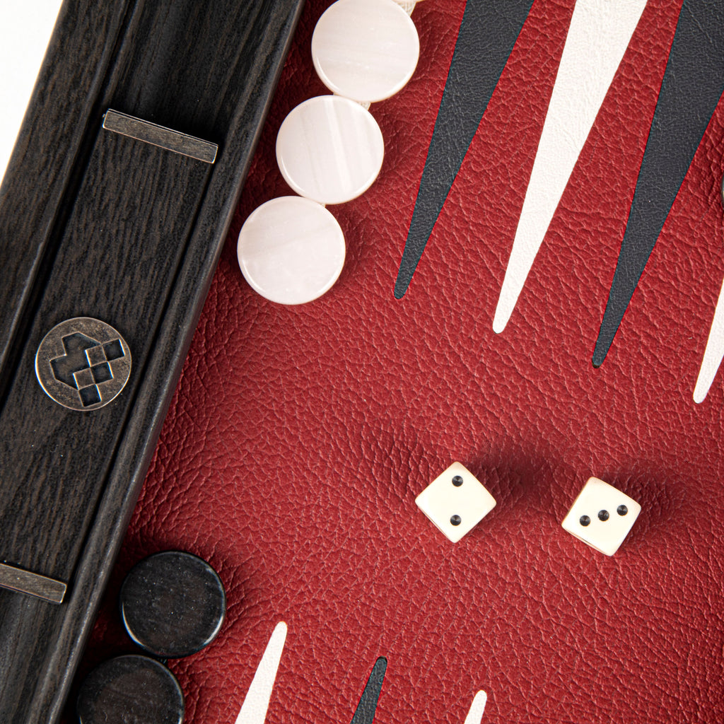 BURGUNDY RED Backgammon (Travel size)