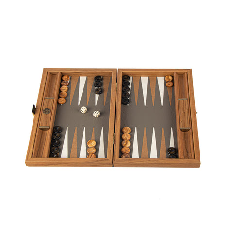GREY BEIGE OSTRICH TOTE Backgammon (Travel size)