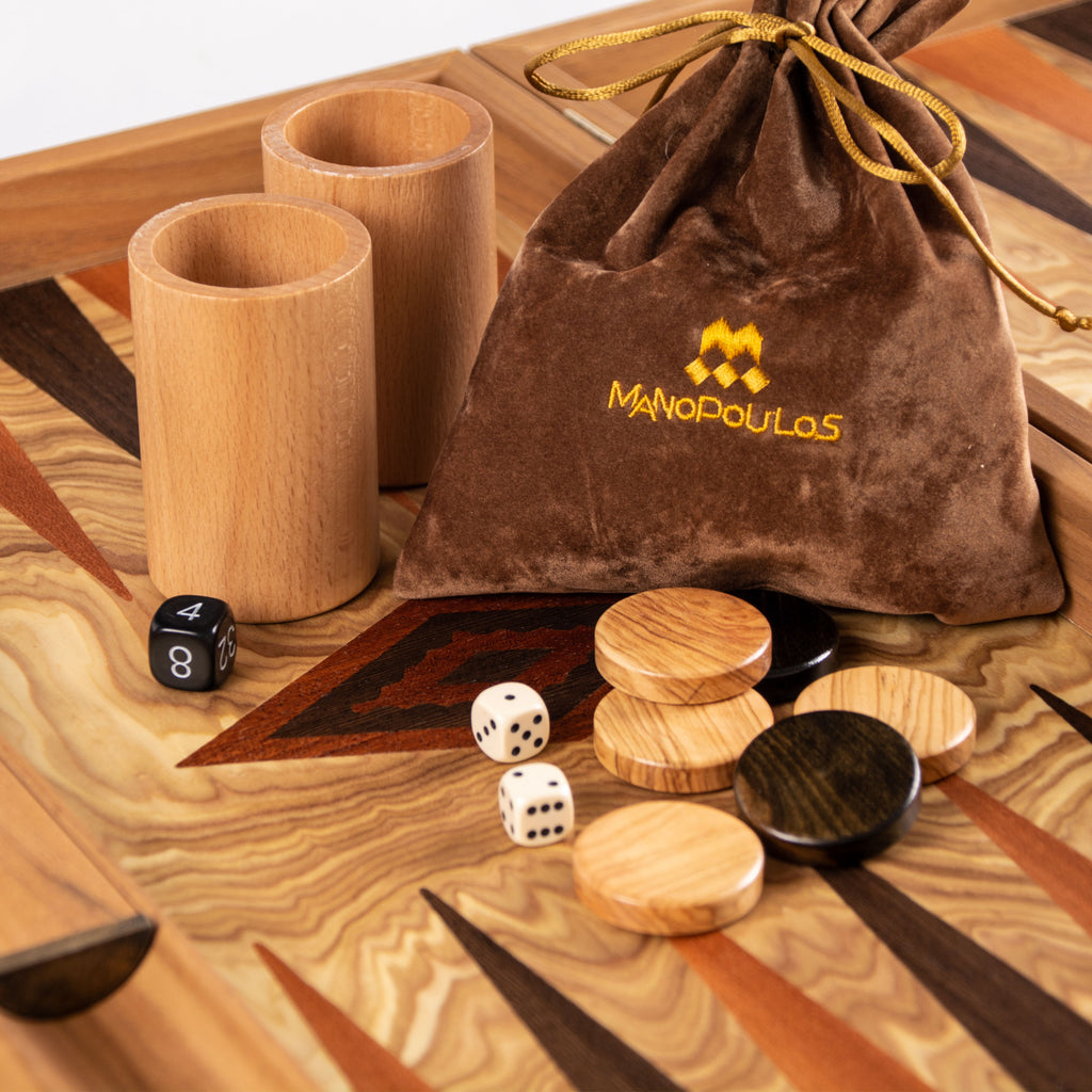 OLIVE BURL (olive wood checkers) Backgammon
