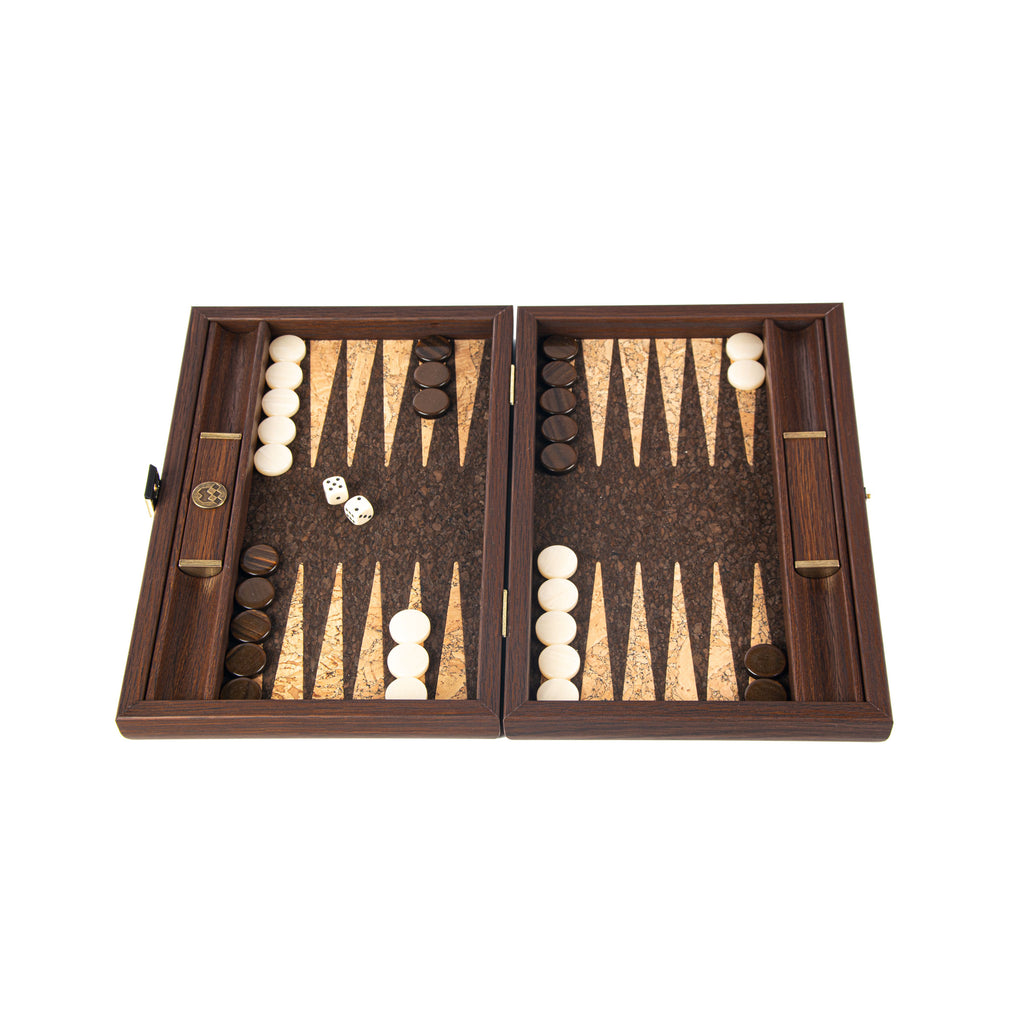 NATURAL CORK WITH CUBE DESIGN Backgammon (with olive wood checkers) Small size