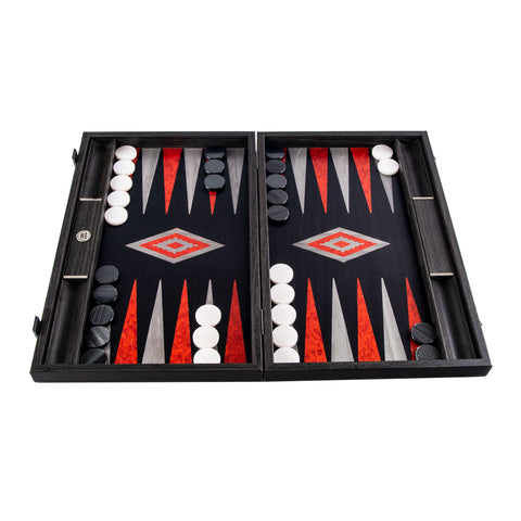 Handcrafted Premium Backgammon with side racks for checkers - Black Oak with Argento lines
