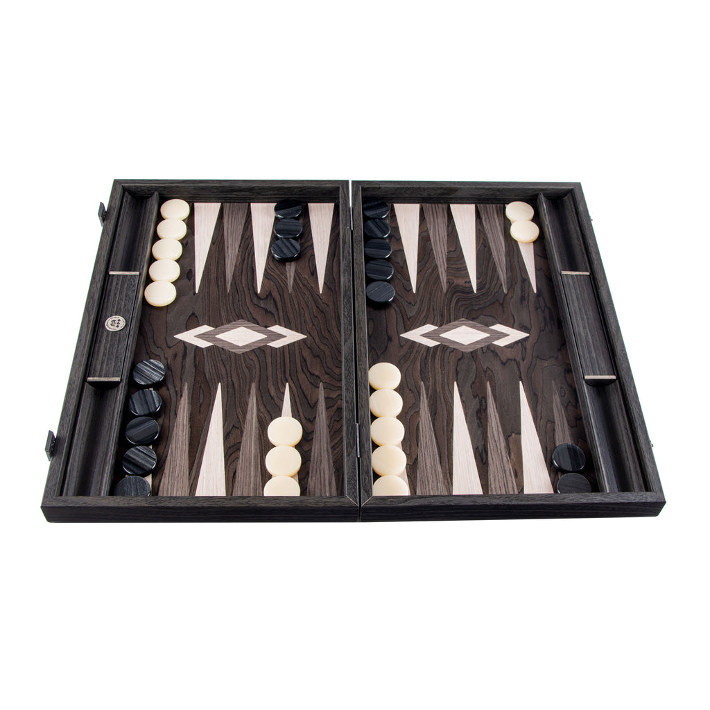 Handcrafted Limited Collection Backgammon with side racks for checkers - Ebony Burl