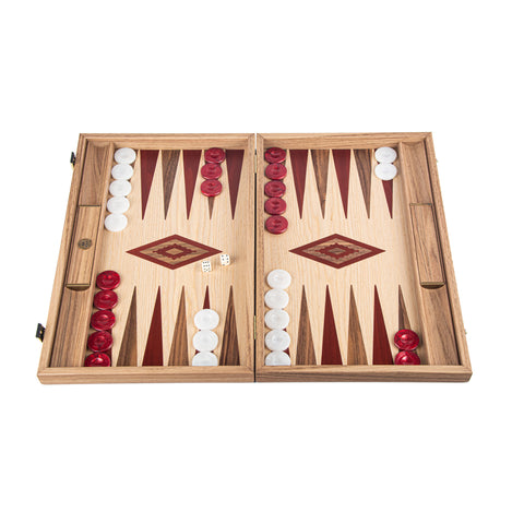 OAK & AMERICAN WALNUT Backgammon with Side Racks