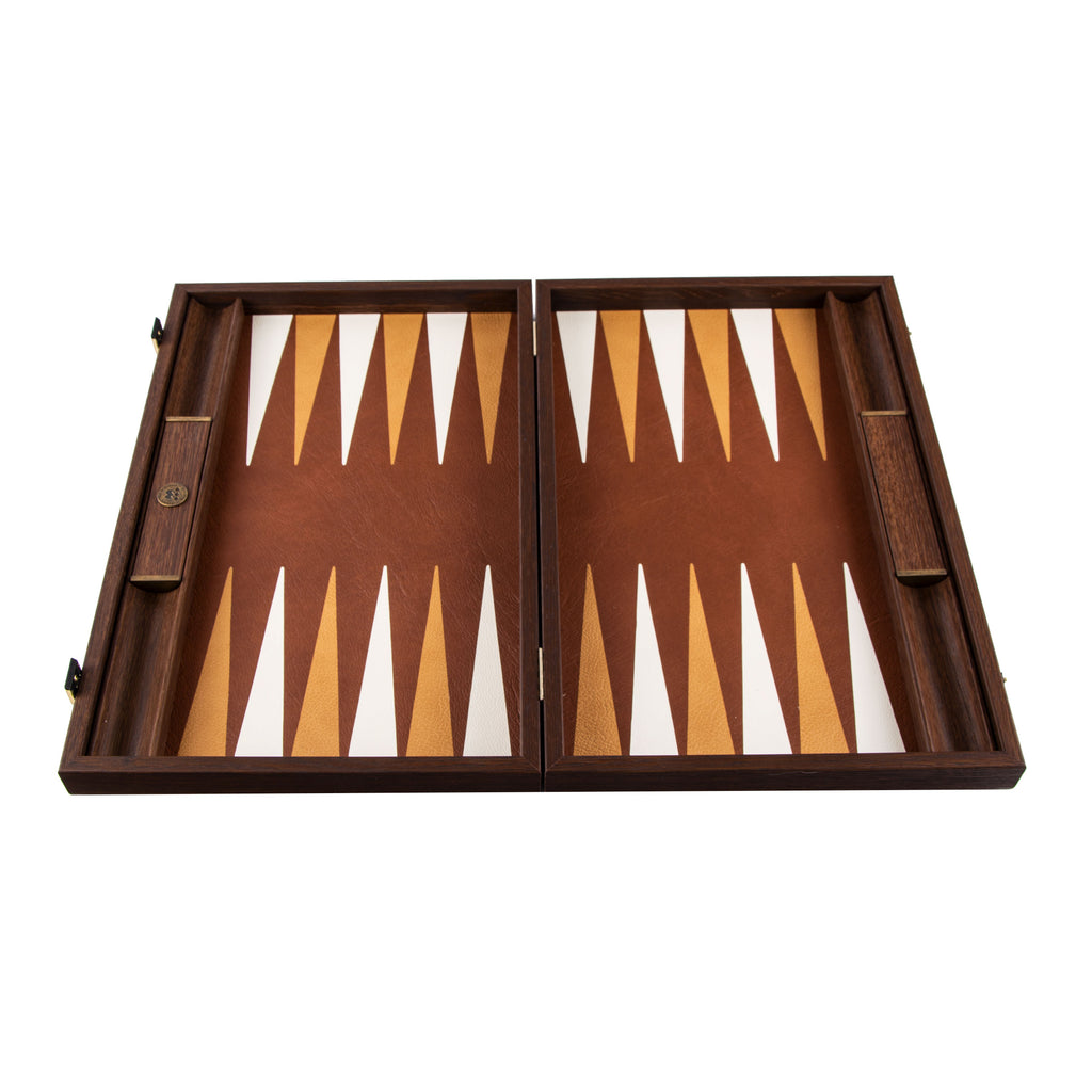 KNITTED LEATHER IN BROWN COLOUR Backgammon