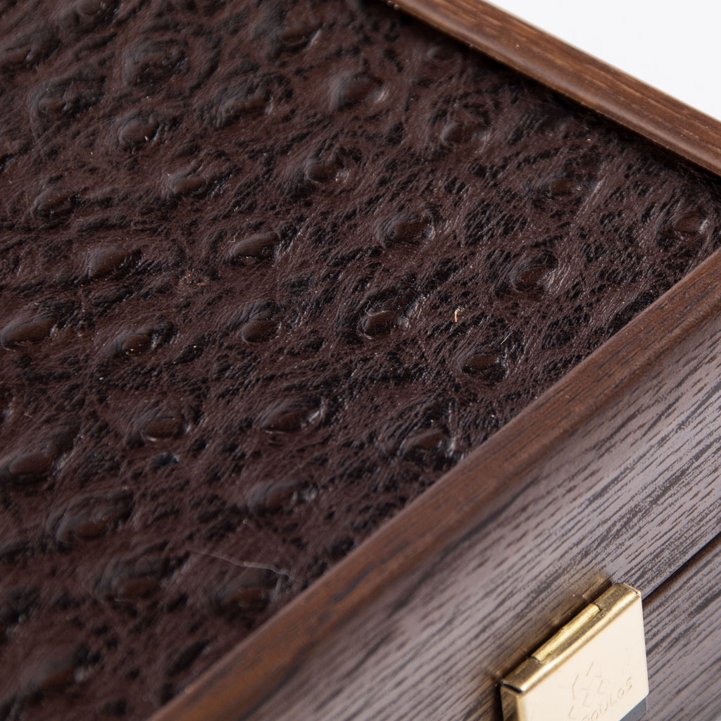OSTRICH TOTE IN BROWN LEATHER Backgammon