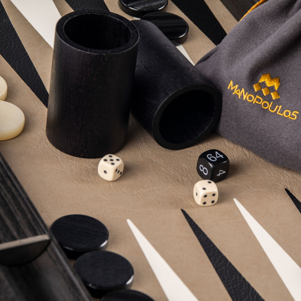 SNAKE TOTE in BLACK LEATHER Backgammon