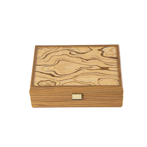 WALNUT WOODEN BOX with natural Italian Olive burl top