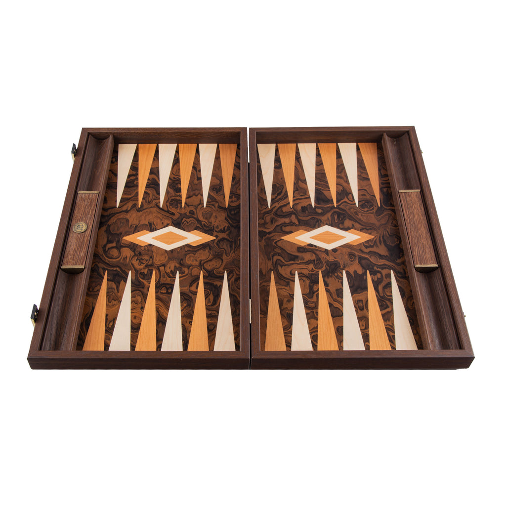 Handcrafted Limited Collection Backgammon with side racks for checkers - Dark Walnut Burl