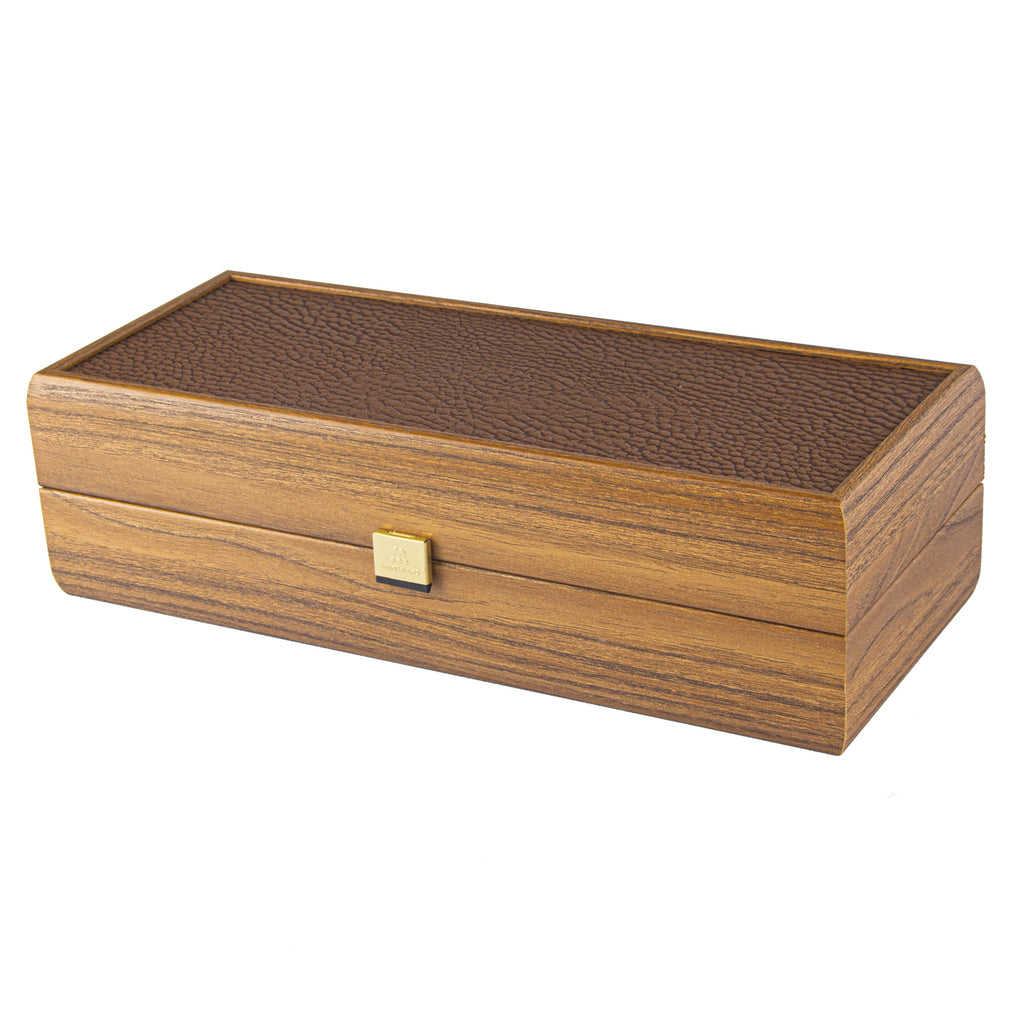 WALNUT WINE BOX with Leatherette top