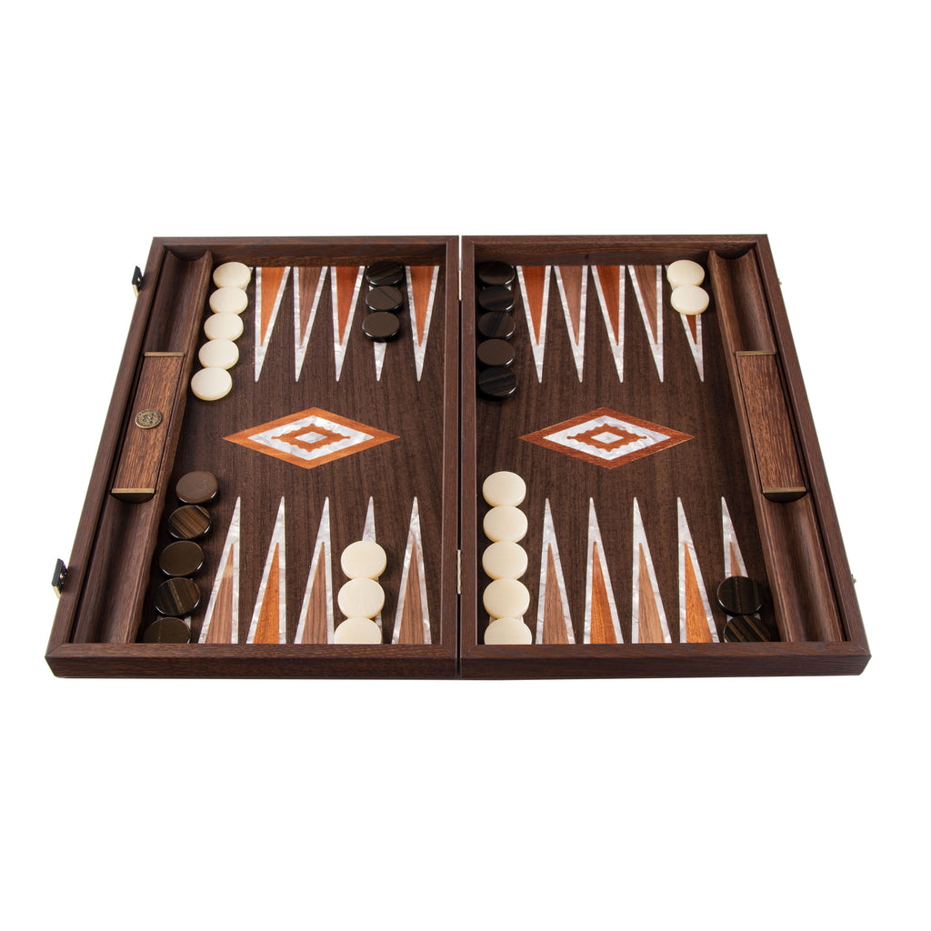 NATURAL BURL with PEARL ELEMENTS Backgammon