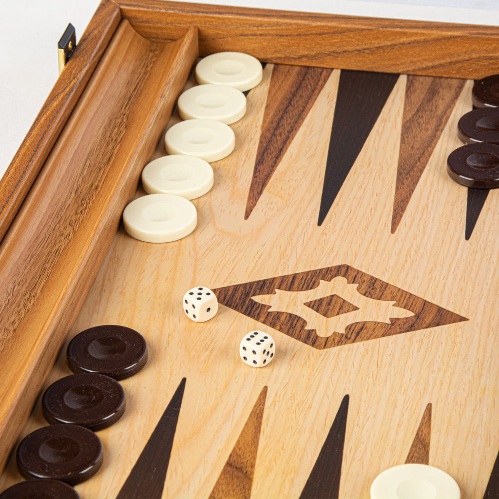 OAK-WALNUT REPLICA WOOD Backgammon with Side Racks