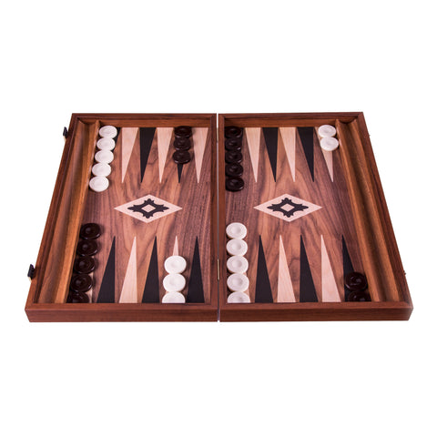 Handcrafted Basic Backgammon with side racks for checkers -  Walnut replica wood