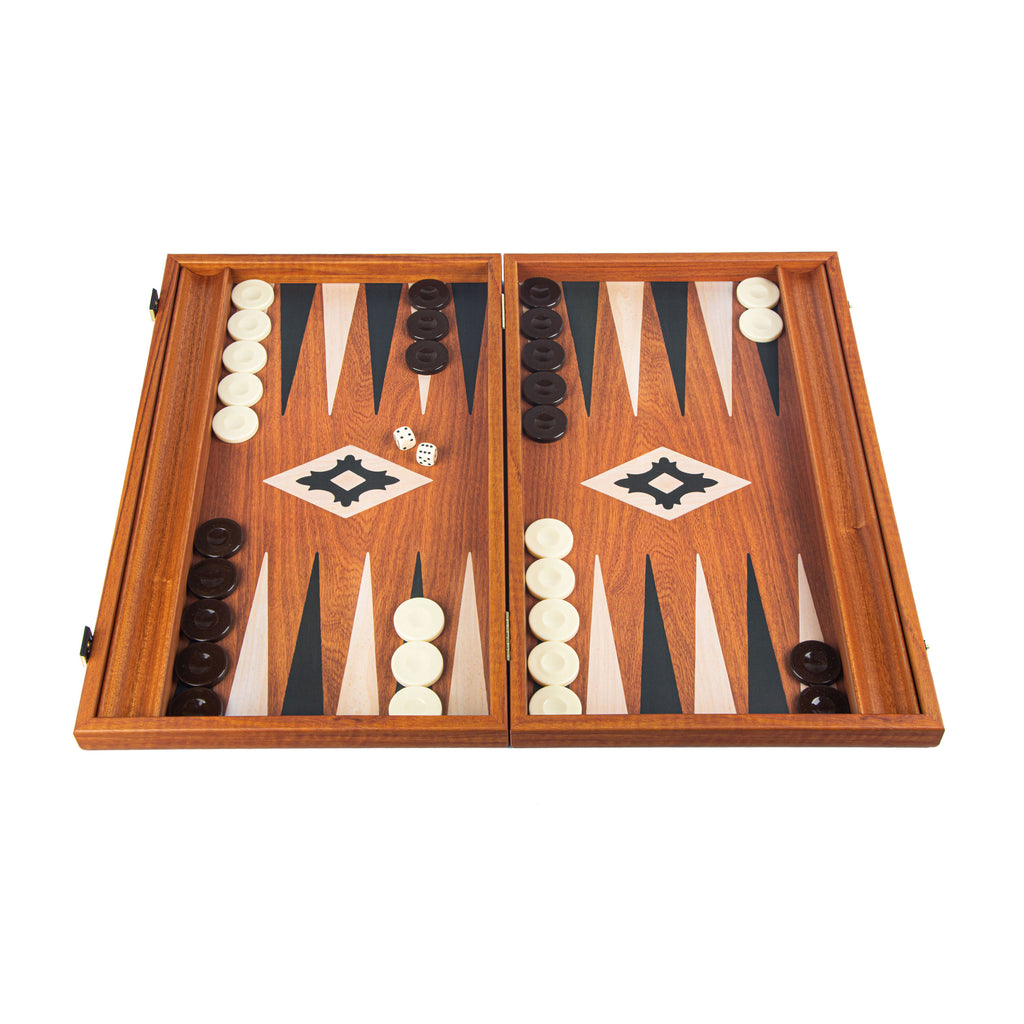 MAHOGANY REPLICA Backgammon with Side Racks