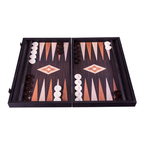 Handcrafted Basic Backgammon with side racks for checkers -  Wenge replica wood