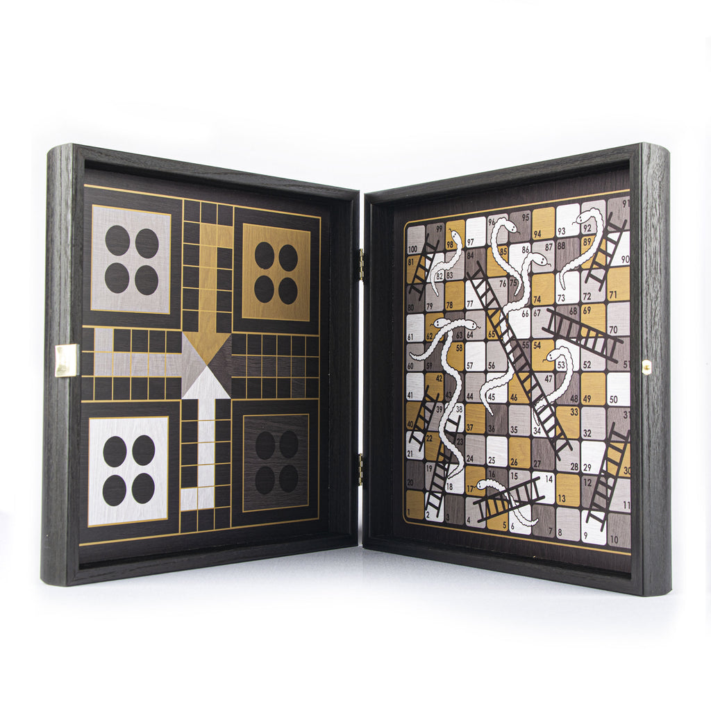 MODERN STYLE - 4 in 1 Combo Game - Chess/Backgammon/Ludo/Snakes