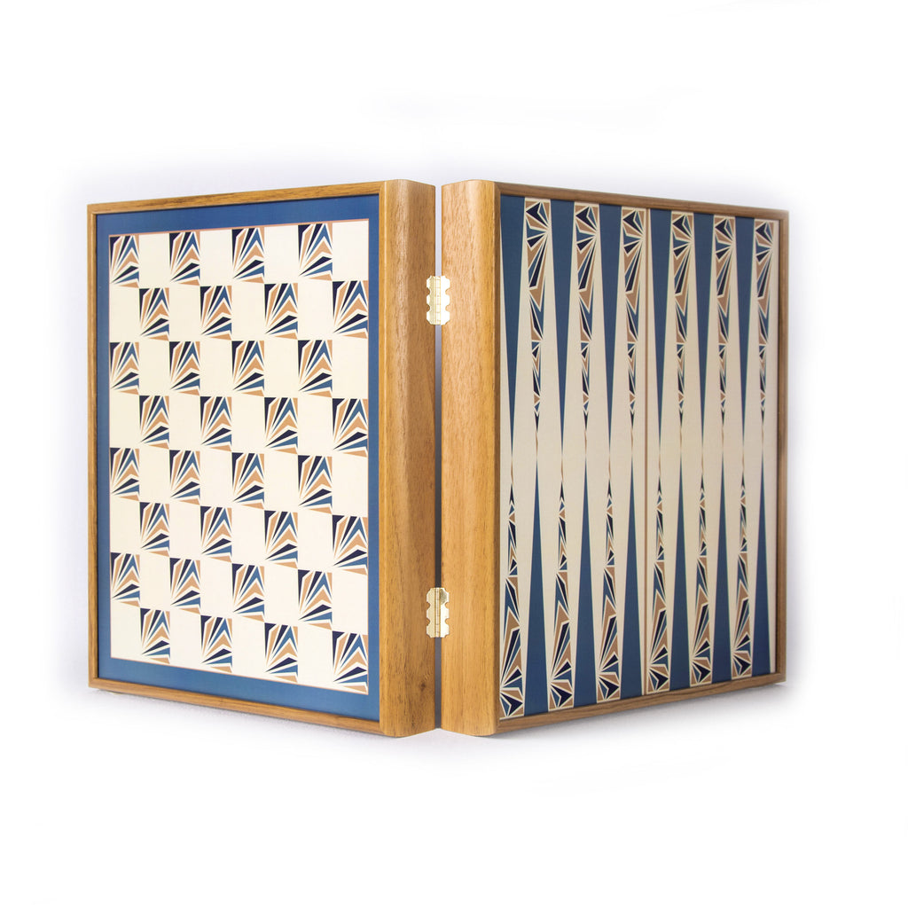 NAVY BLUE COLOUR - 4 in 1 Combo Game - Chess/Backgammon/Ludo/Snakes