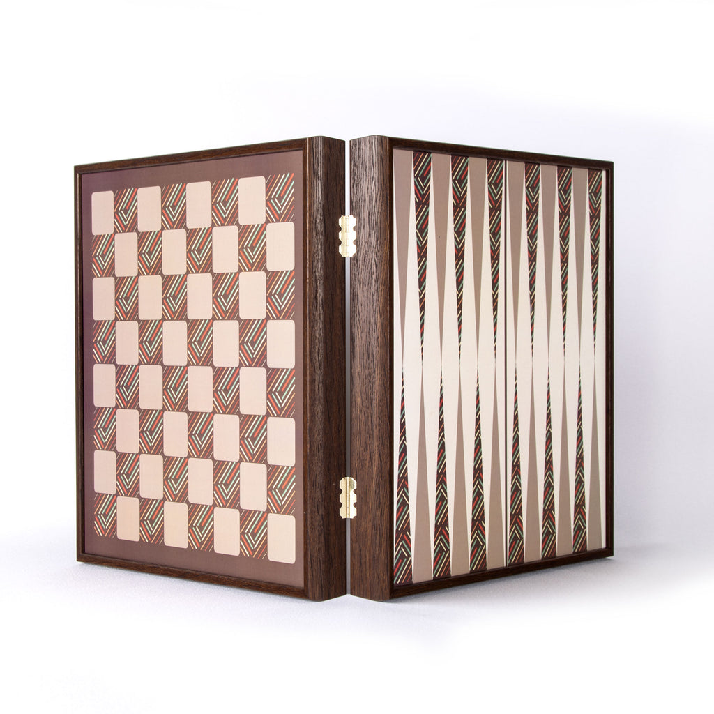 VINTAGE STYLE - 4 in 1 Combo Game - Chess/Backgammon/Ludo/Snakes
