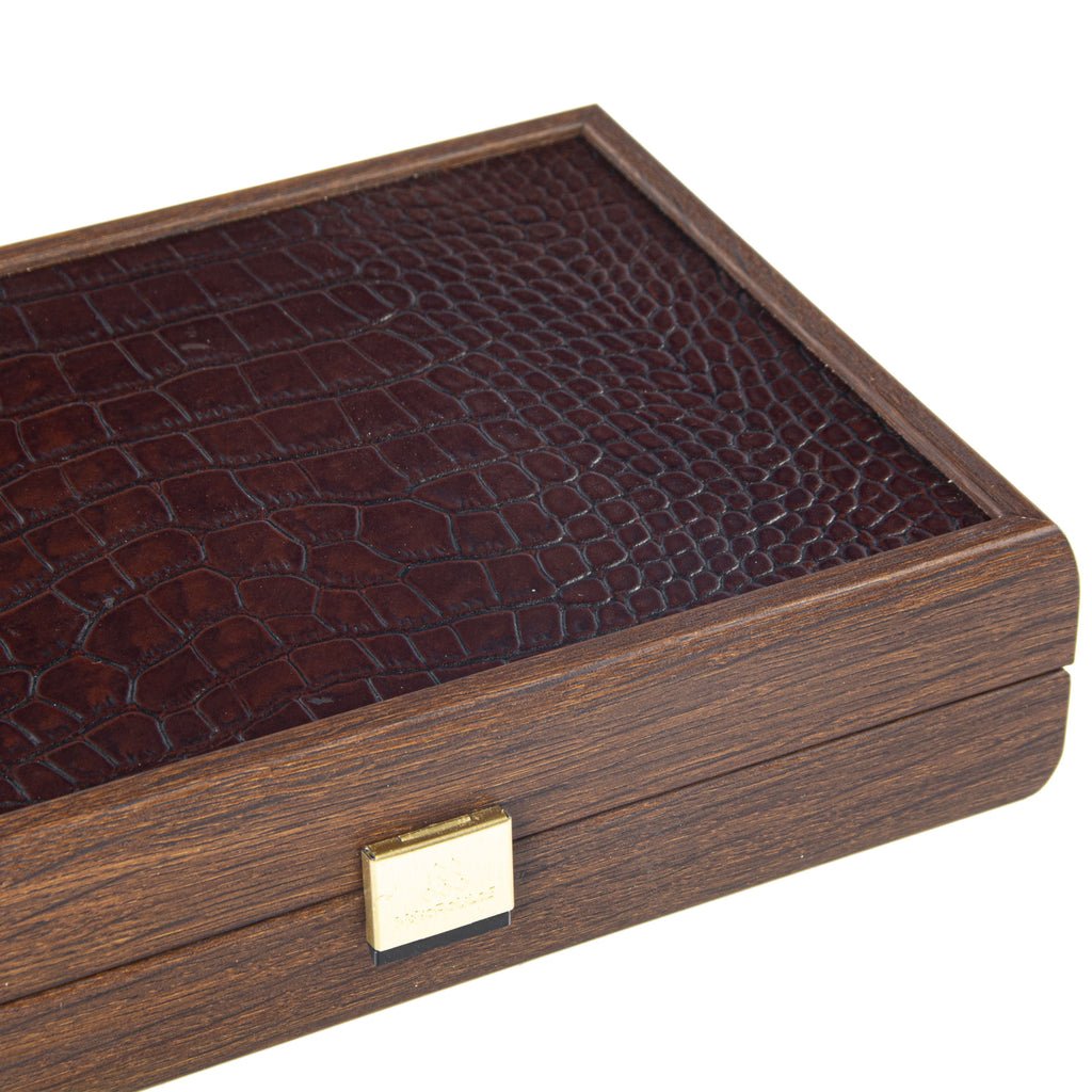 PLASTIC COATED PLAYING CARDS in Brown Leather Croc tote wooden case