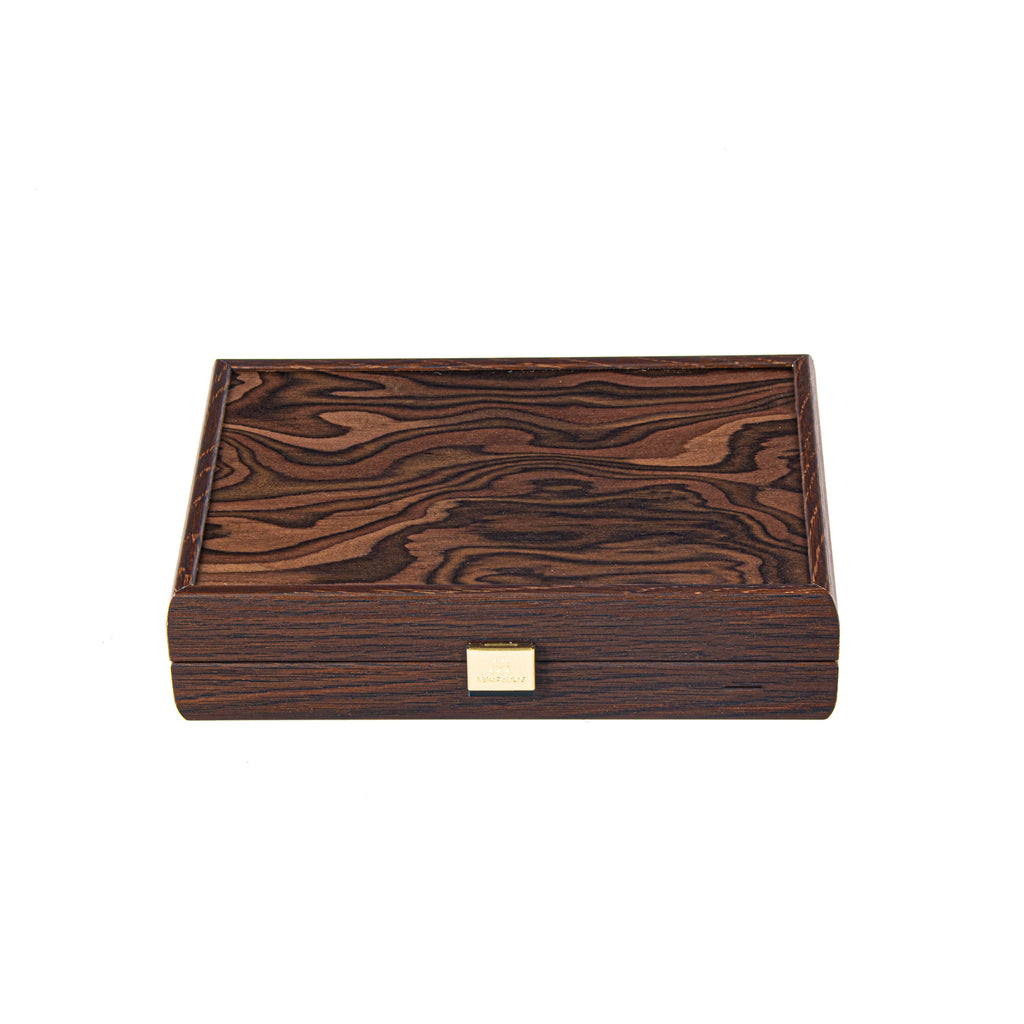 PLASTIC COATED PLAYING CARDS in wooden case with California Walnut burl