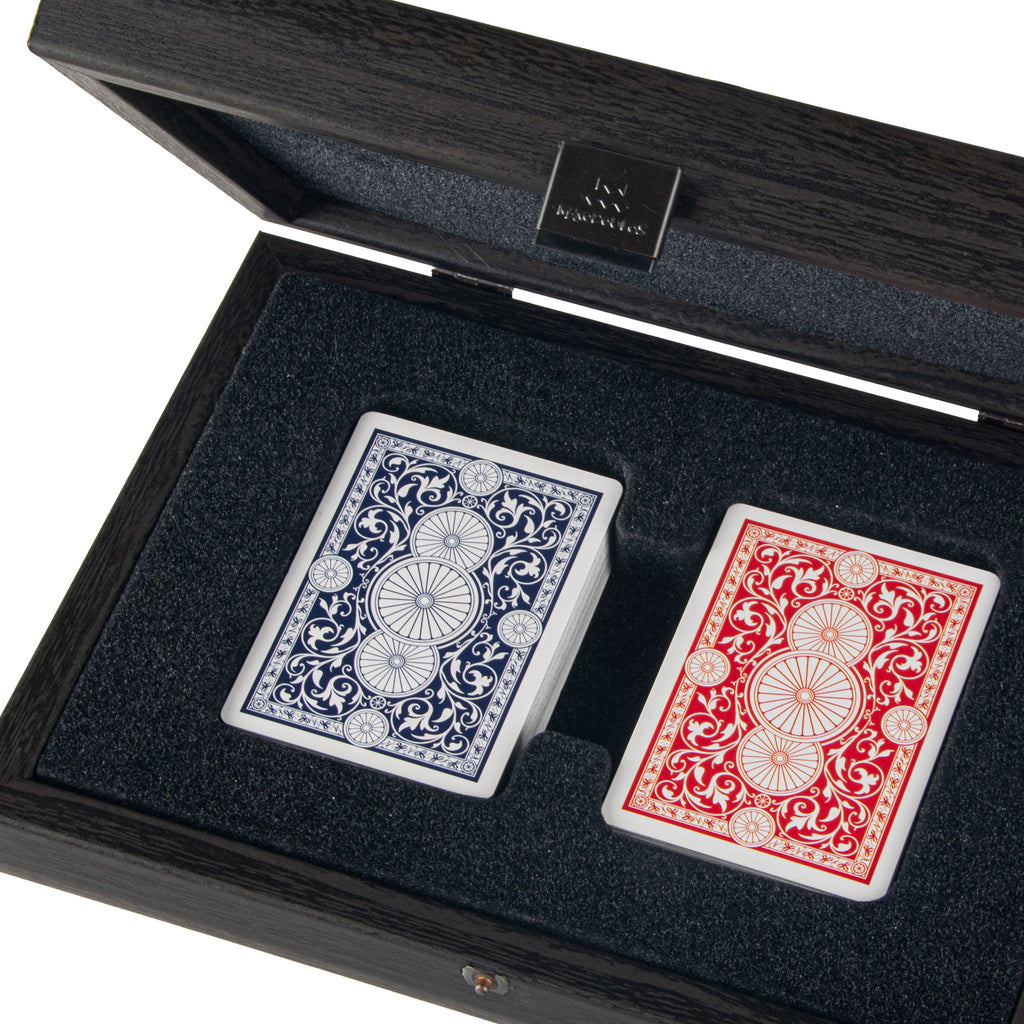 PLASTIC COATED PLAYING CARDS in Black wooden case