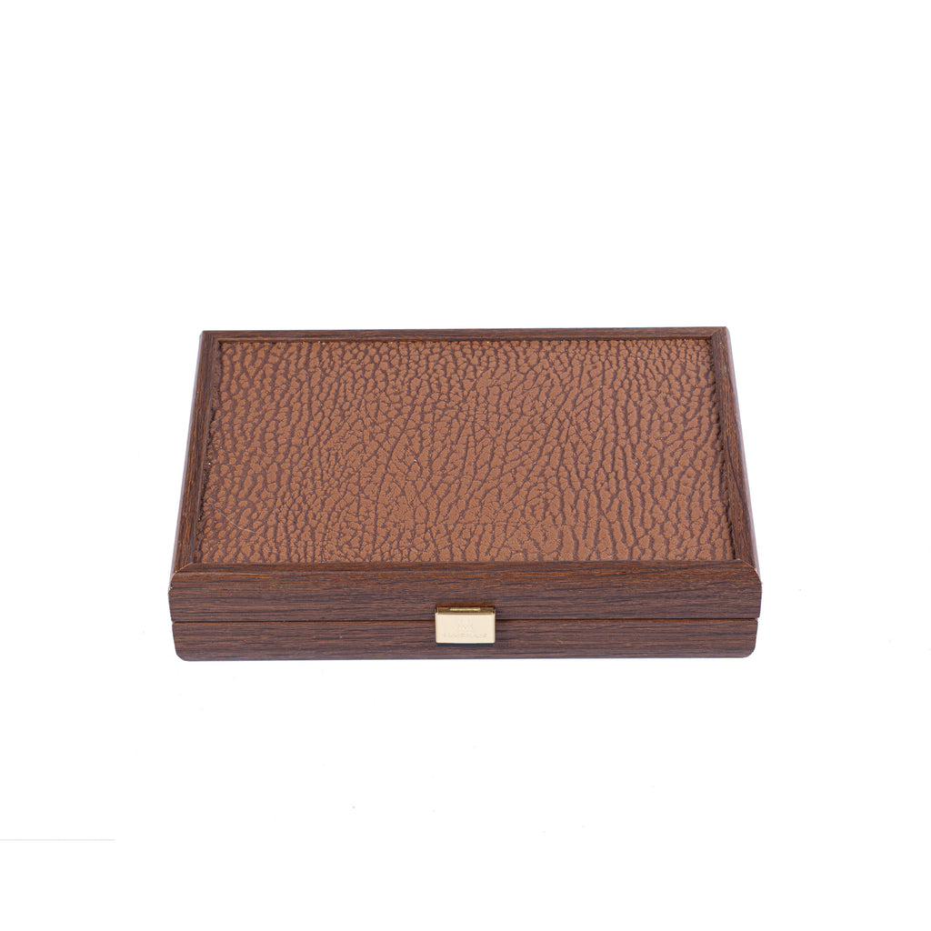 DOMINO SET in Caramel colour Leatherette wooden case