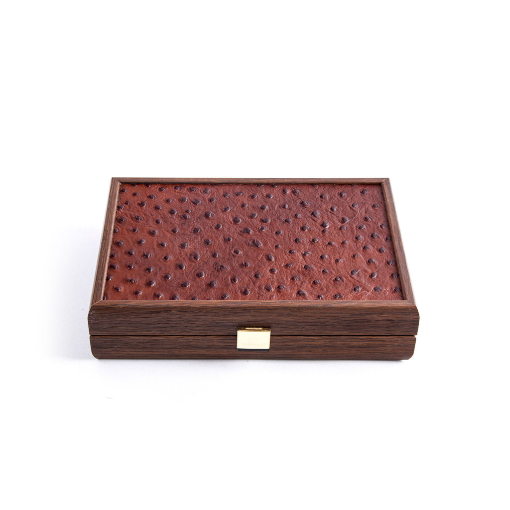 DOMINO SET in Brown Leather Ostrich tote wooden case