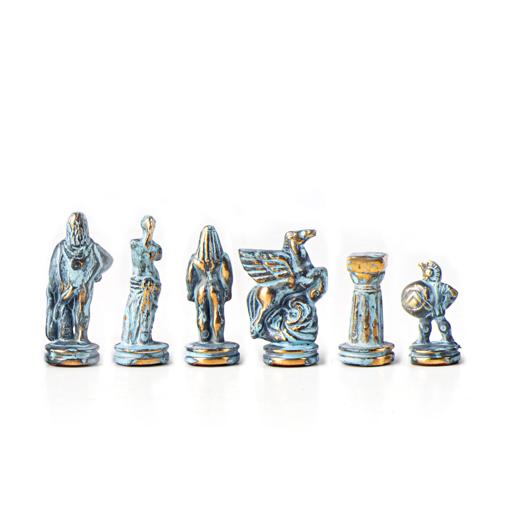 SPARTAN WARRIOR Chessmen  (Small) - Blue/Brown