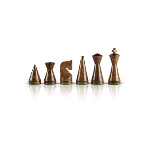 MODERN STYLE WOODEN CHESSMEN IN NATURAL BROWN & IVORY - King's Height 7.6cm